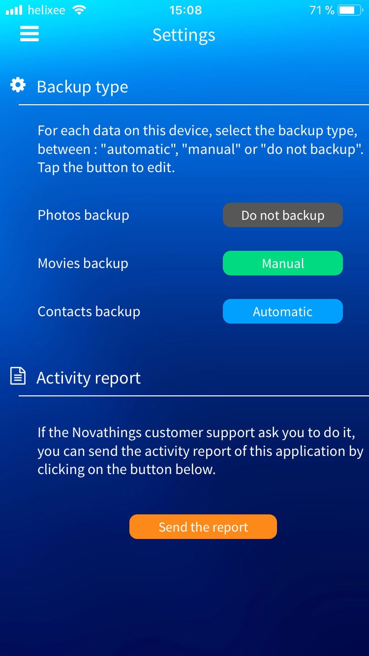 Mobile app backup settings