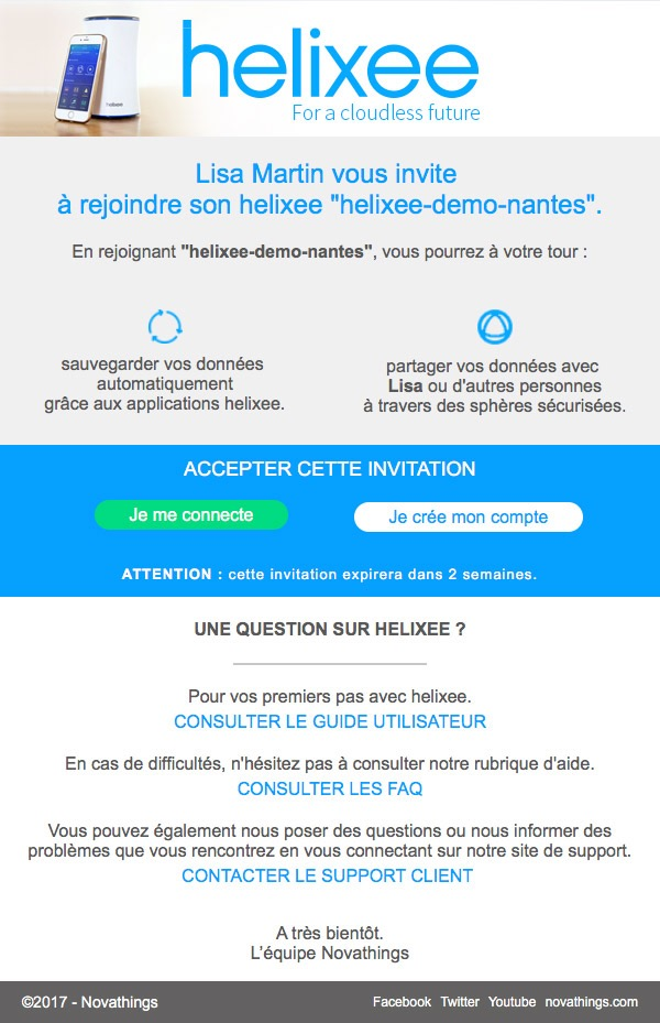 Mail invitation à un helixee