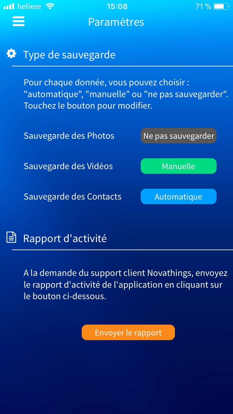 Paramètres application mobile