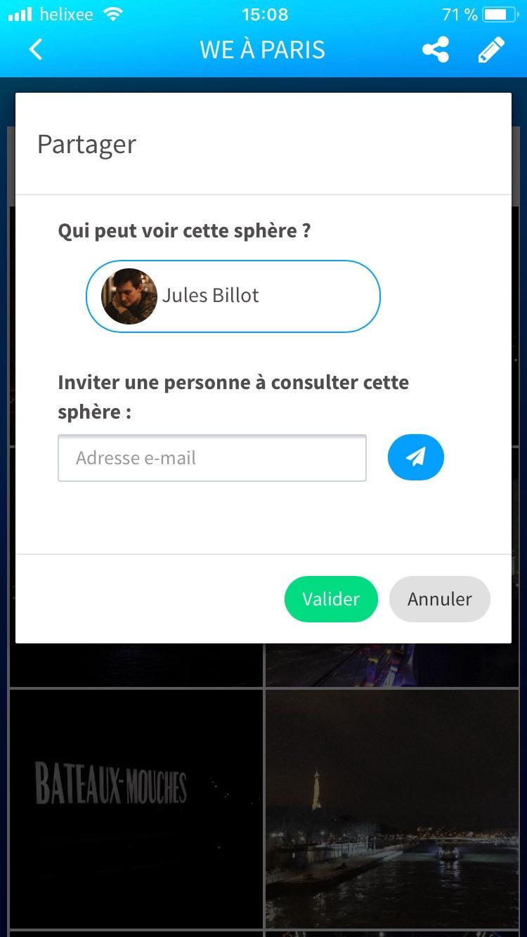 Partager une sphère sur l'application mobile