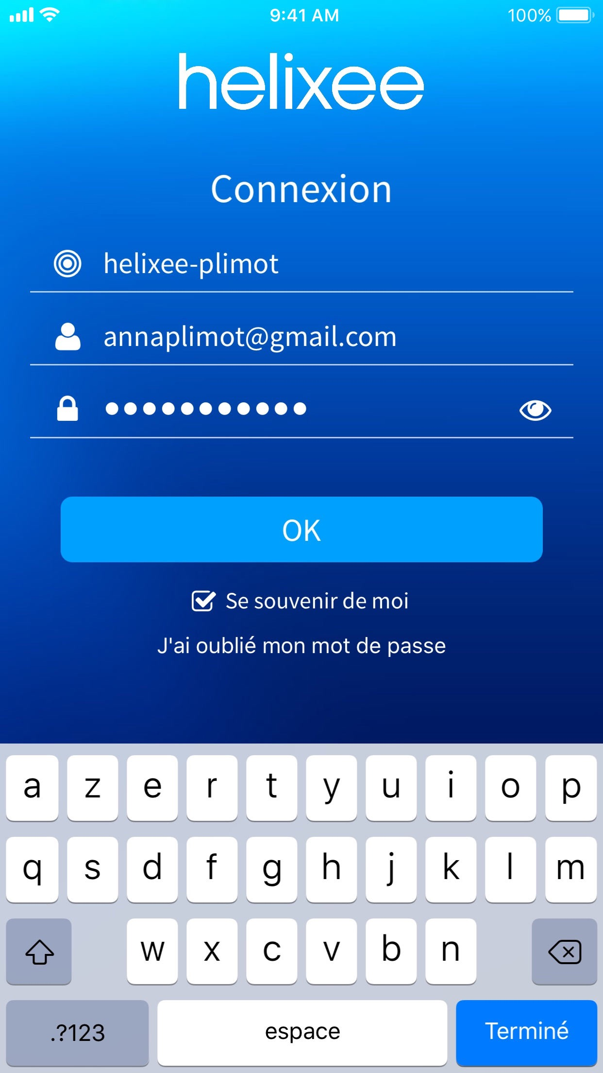Connexion application mobile