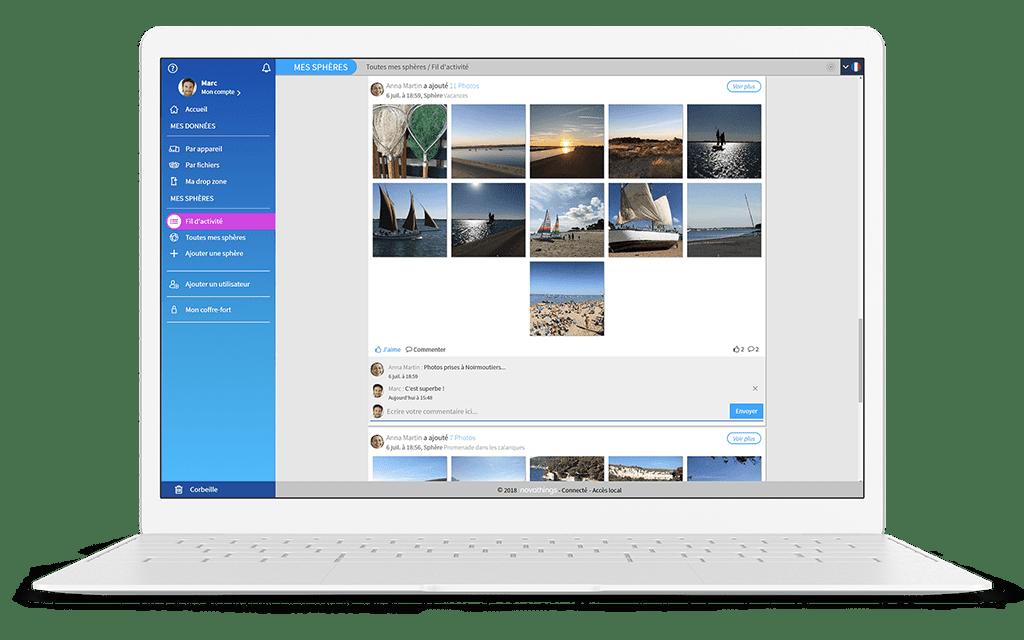helixee app web ordinateur partage sphères