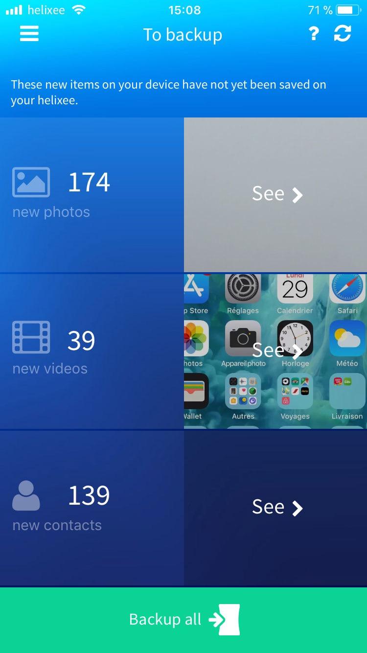 Mobile app backup page