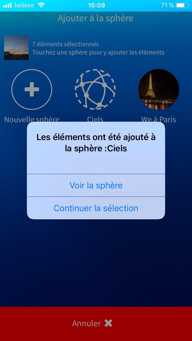 Confirmation d'ajout à la sphère application mobile