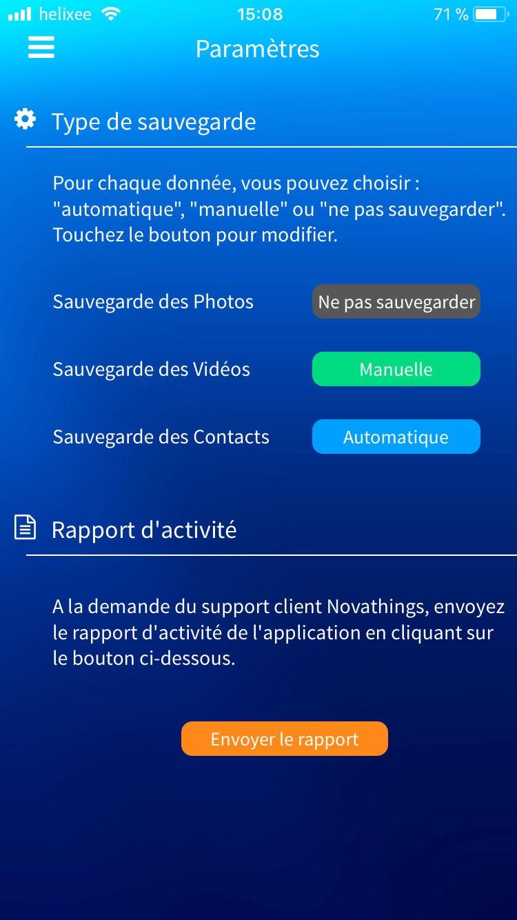 Paramètres application mobile