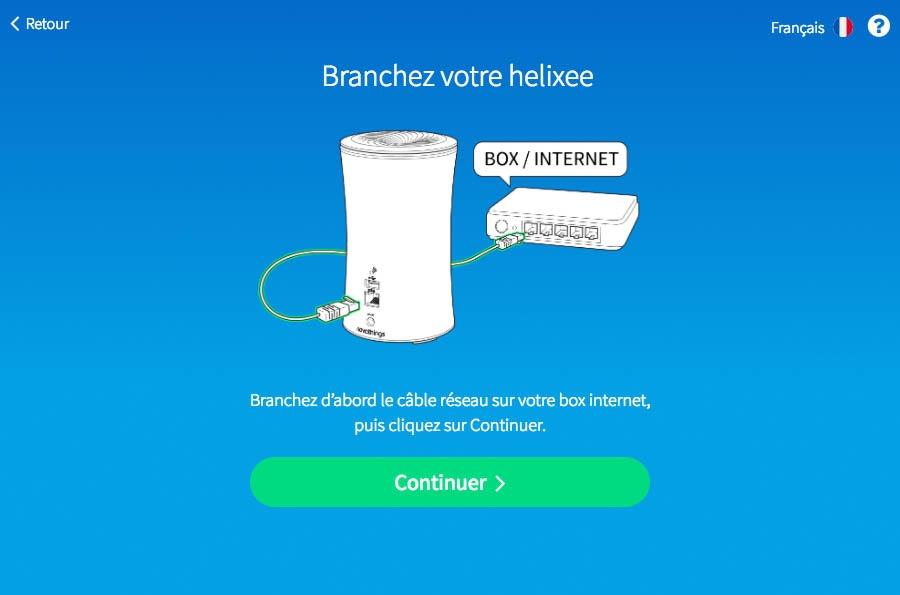 Brancher helixee au réseau internet